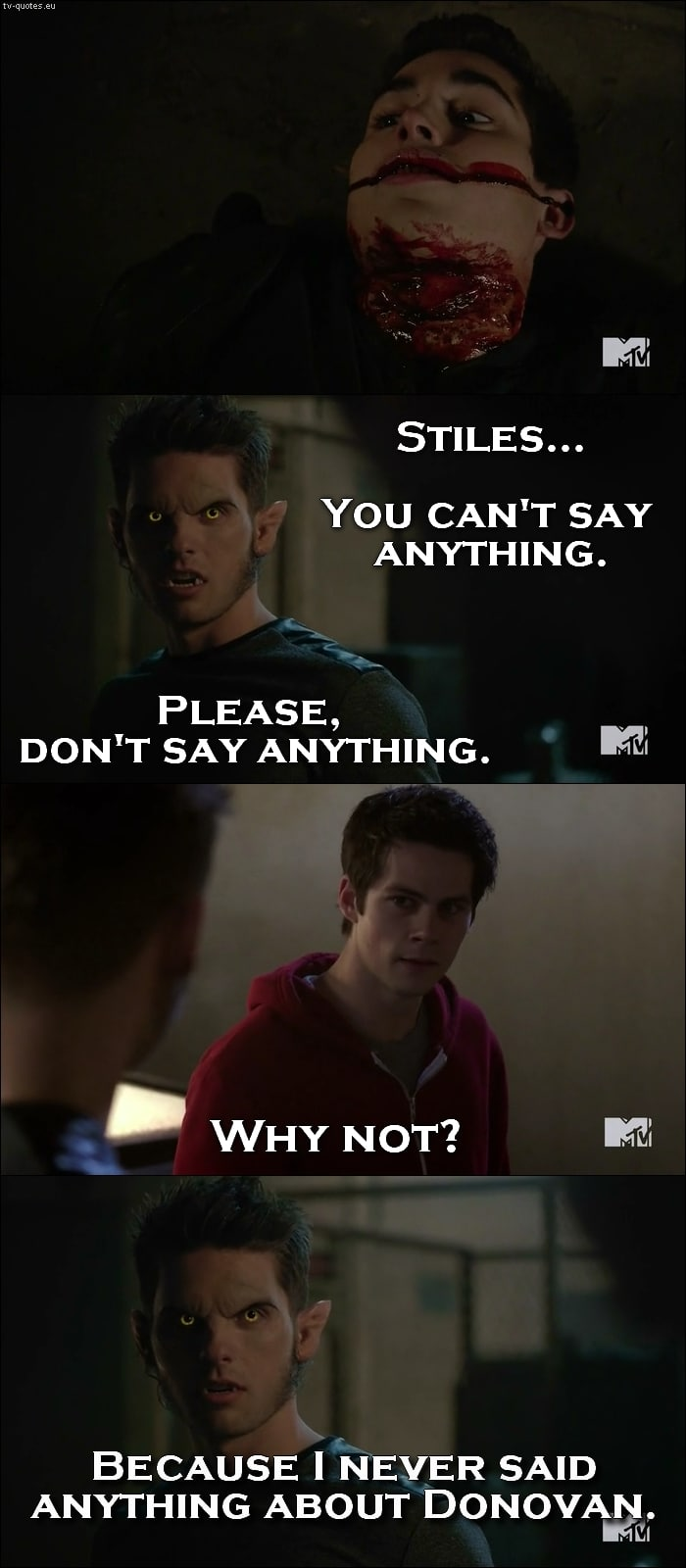 Teen Wolf 5x06 quote - Please don't say anything.