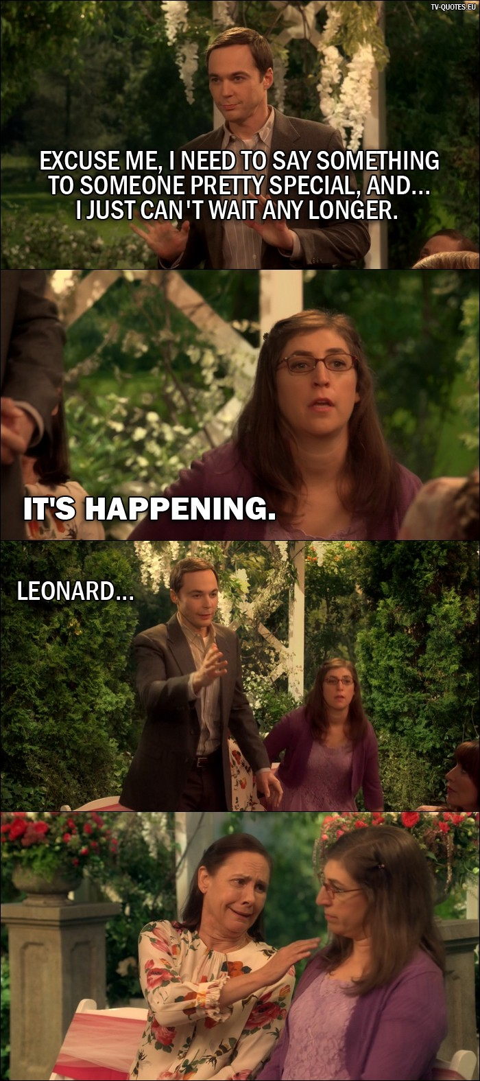 The Big Bang Theory Quote from 10x01 - Sheldon Cooper: Excuse me, I need to say something to someone pretty special, and... I just can't wait any longer. Amy Farrah Fowler: It's happening. Sheldon Cooper: Leonard...