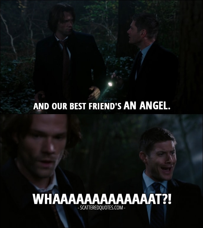 30 Best Supernatural Quotes from 'Regarding Dean' (12x11) - Dean Winchester (to Sam): And our best friend's an angel. Whaaaaaaaaaaaaat?!