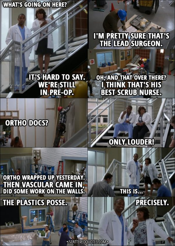 Quote from Grey's Anatomy 14x01 - Ben Warren: What's going on here? Miranda Bailey: It's hard to say. We're still in pre-op. Yeah, I'm pretty sure that's the lead surgeon. Oh, and that over there? Yeah, I think that's his best scrub nurse. Later... Ben Warren: Ortho docs? Miranda Bailey: Only louder! Next day... Miranda Bailey: Ortho wrapped up yesterday. Then vascular came in, did some work on the walls. This is... Ben Warren: The plastics posse. Miranda Bailey: Precisely.