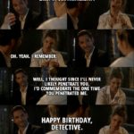 Quote from Lucifer 3x06 - Lucifer Morningstar: It's the bullet from when you shot me. Remember in the warehouse, early in our partnership? Chloe Decker: Oh. Yeah. I remember. Lucifer Morningstar: Well, I thought since I'll never likely penetrate you, I'd commemorate the one time you penetrated me. So, uh, happy birthday, Detective.