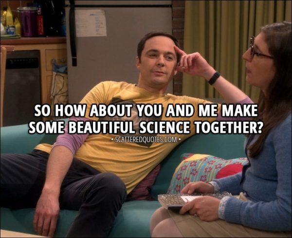 Quote from The Big Bang Theory 11x05 - Sheldon Cooper (to Amy): So how about you and me make some beautiful science together?