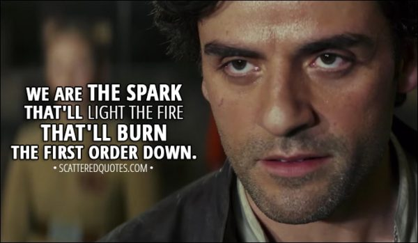 Quote from Star Wars: The Last Jedi (2017) - Poe Dameron: We are the spark that'll light the fire that'll burn the First Order down.