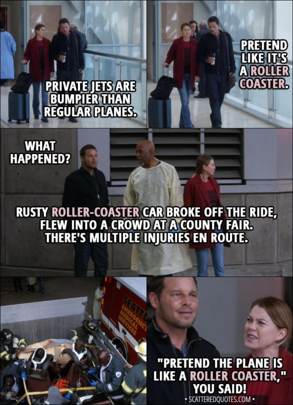 """Quote from Grey's Anatomy 14x07 - Meredith Grey: Private jets are bumpier than regular planes. Alex Karev: All right, so pretend like it's a roller coaster. (Few minutes later...) Alex Karev: What happened? Richard Webber: Rusty roller-coaster car broke off the ride, flew into a crowd at a county fair. There's multiple injuries en route. Meredith Grey: """"Pretend the plane is like a roller coaster,"""" you said! That's what you said to me!"""