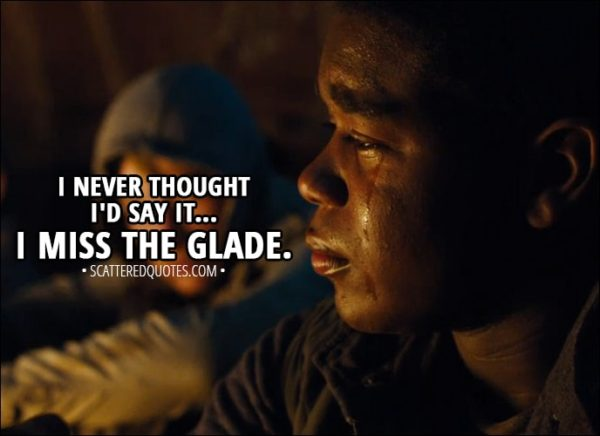 Quote from Maze Runner: The Scorch Trials (2015) - Frypan: I never thought I'd say it... I miss the Glade.