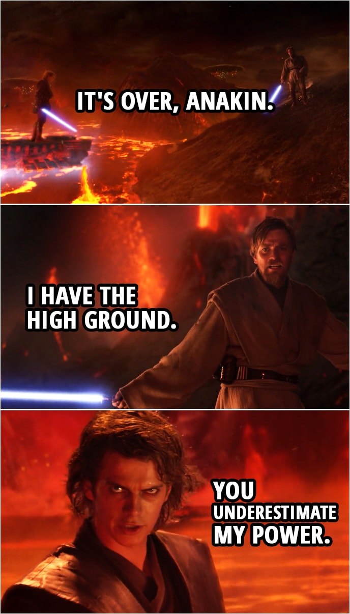 It S Over Anakin I Have The High Ground Scattered Quotes