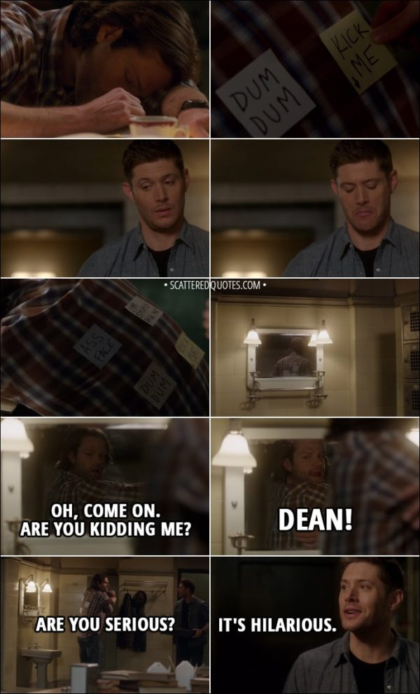 Quote from Supernatural 13x17 - (Dean puts funny post-it notes on Sam's back while he sleeps) Sam Winchester: Oh, come on. Are you kidding me? Dean! Are you serious? Dean Winchester: What? Oh. It's hilarious.
