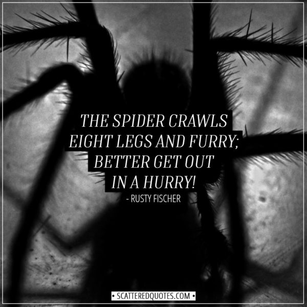 Halloween Quotes - The spider crawls eight legs and furry; better get out in a hurry! - Rusty Fischer