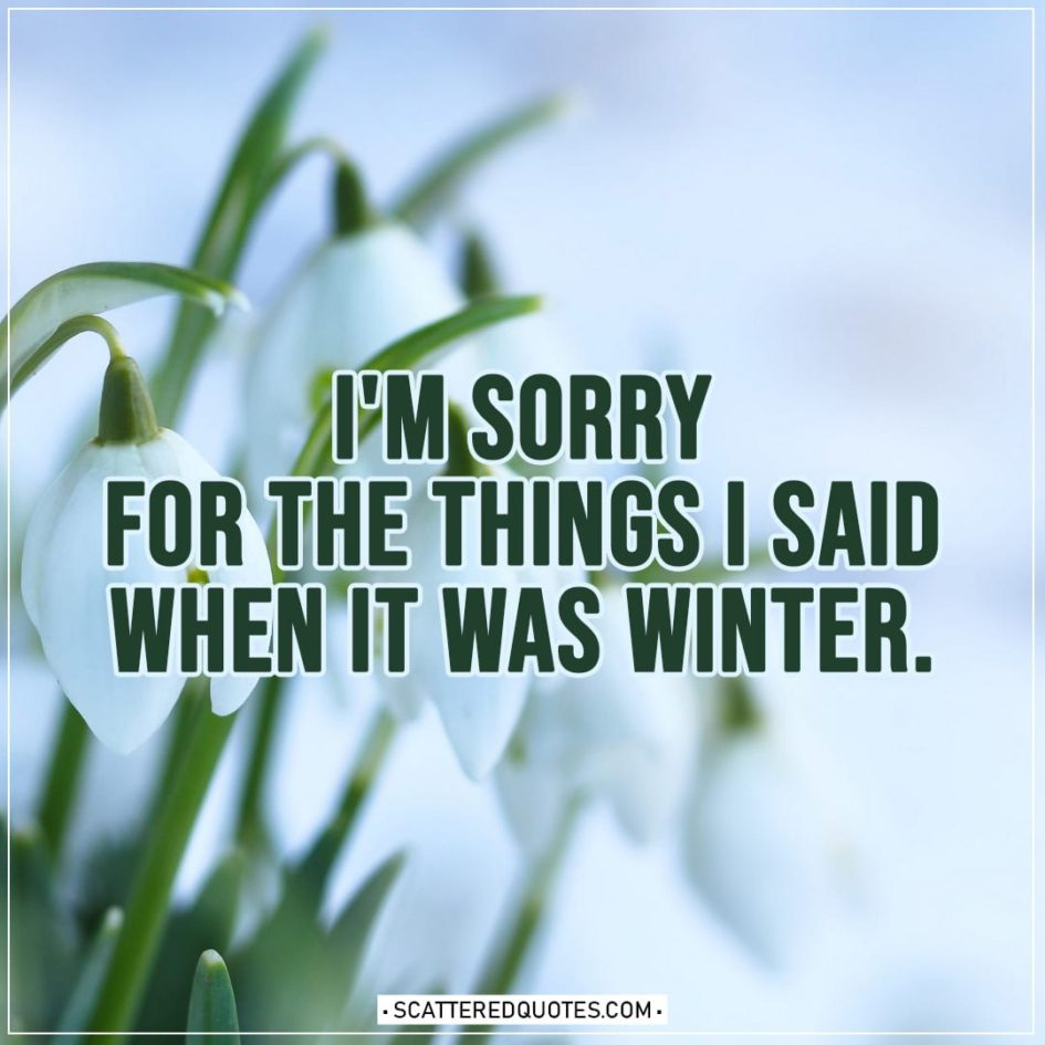 Spring Quotes | I'm sorry for the things I said when it was winter.