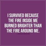 Quote about Strength | I survived because the fire inside me burned brighter than the fire around me. - Joshua Graham