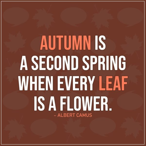 Quote about Fall   Autumn is a second spring when every leaf is a flower. - Albert Camus