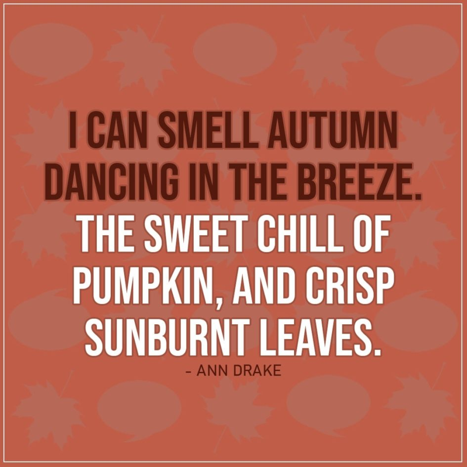Quote about Fall   I can smell autumn dancing in the breeze. The sweet chill of pumpkin, and crisp sunburnt leaves. - Ann Drake