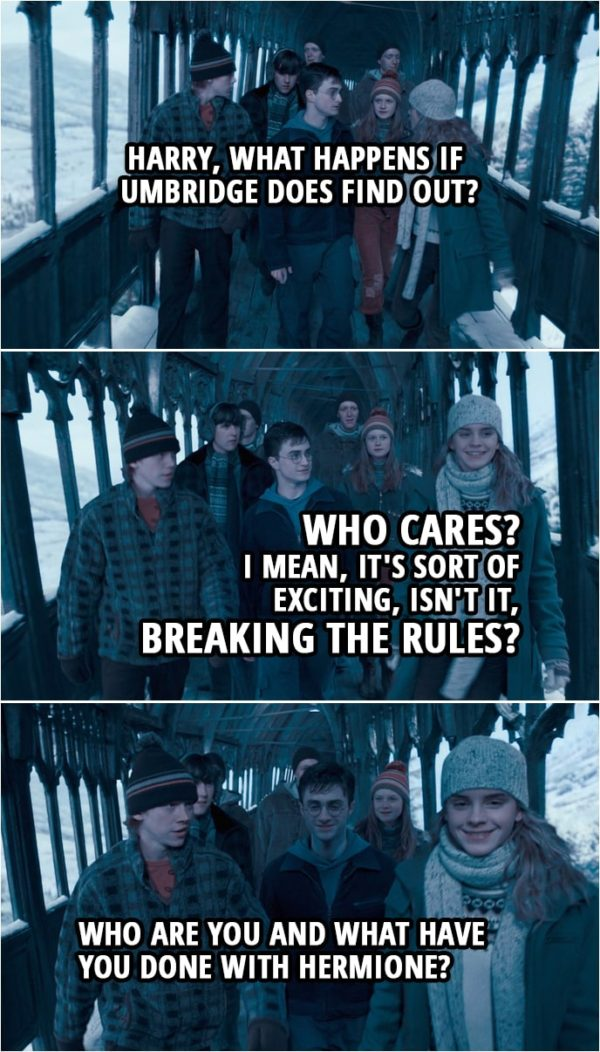 Quote from Harry Potter and the Order of the Phoenix (2007) | Ginny Weasley: Harry, what happens if Umbridge does find out? Hermione Granger: Who cares? I mean, it's sort of exciting, isn't it, breaking the rules? Ron Weasley: Who are you and what have you done with Hermione?